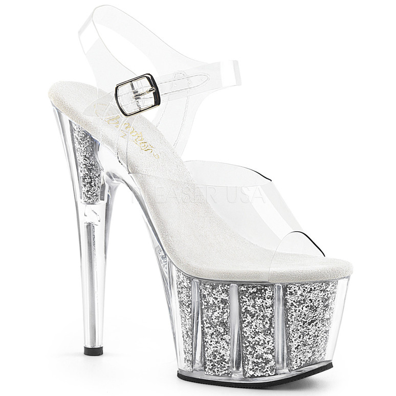 ADORE-708G, Sexy Shoes with Ankle Strap Glitter Filled Bottom Silver