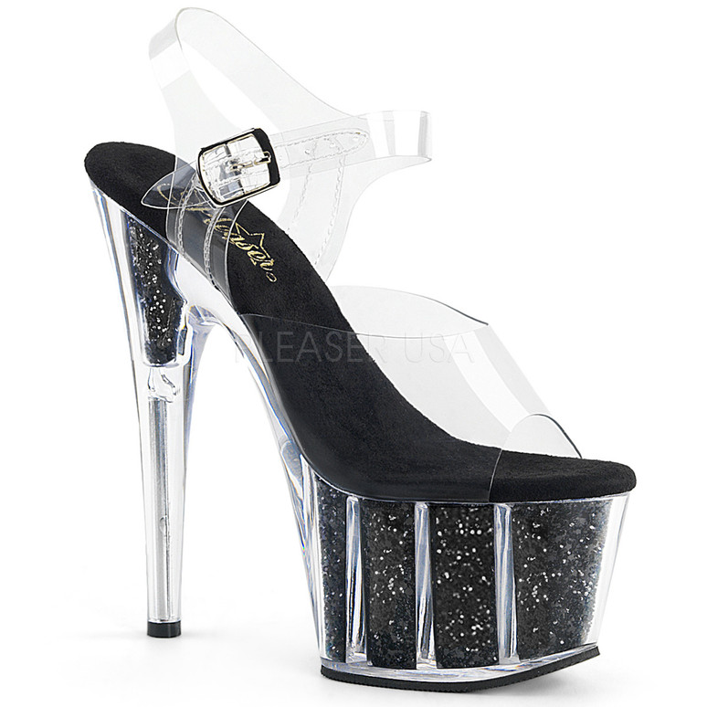 ADORE-708G, Sexy Shoes with Ankle Strap Glitter Filled Bottom Black