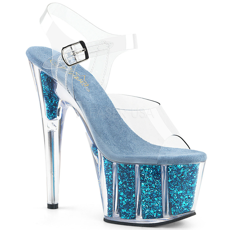 ADORE-708G, Sexy Shoes with Ankle Strap Glitter Filled Bottom color Turquoise