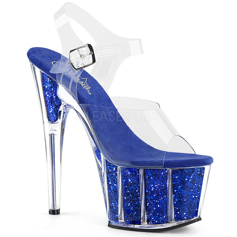 ADORE-708G, Sexy Shoes with Ankle Strap Glitter Filled Bottom Blue