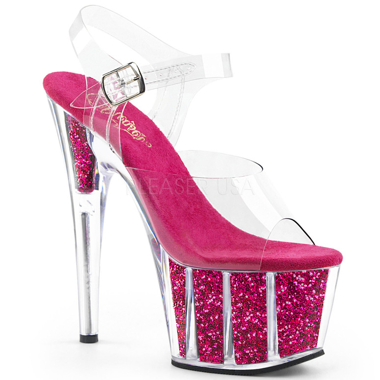 ADORE-708G, Sexy Shoes with Ankle Strap Glitter Filled Bottom Hot Pink