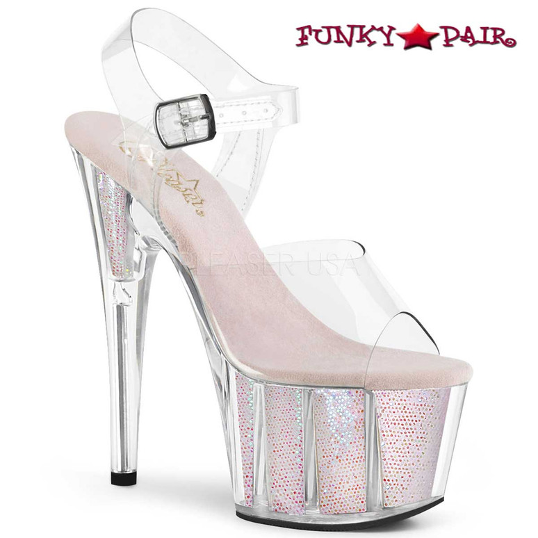 Pleaser Shoes ADORE-708G, Glitter Exotic Dancer Shoes color opal