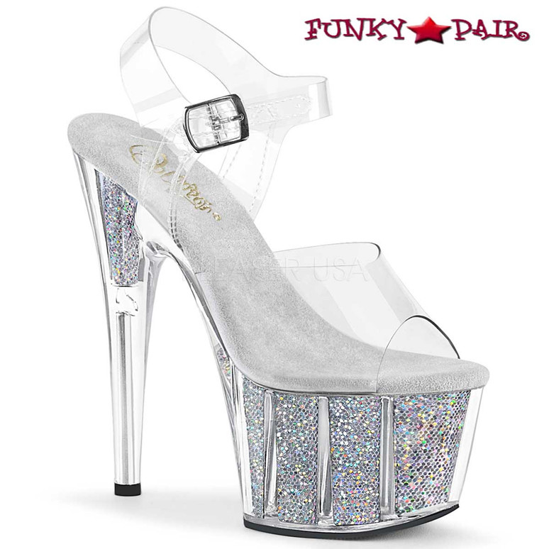 Pleaser Shoes ADORE-708G, Glitter Exotic Dancer Shoes color silver multi Glitter