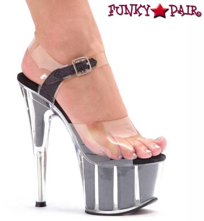 Black 709-Glitter 7 Inch Pole Fitness Shoes Black