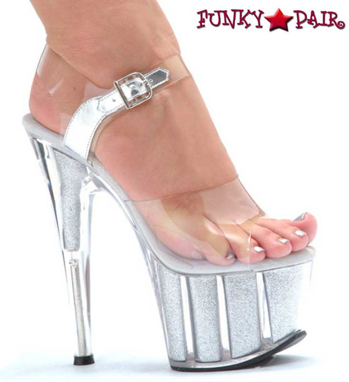 Ellie Shoes | 709-Glitter 7 Inch Pole Fitness Shoes silver