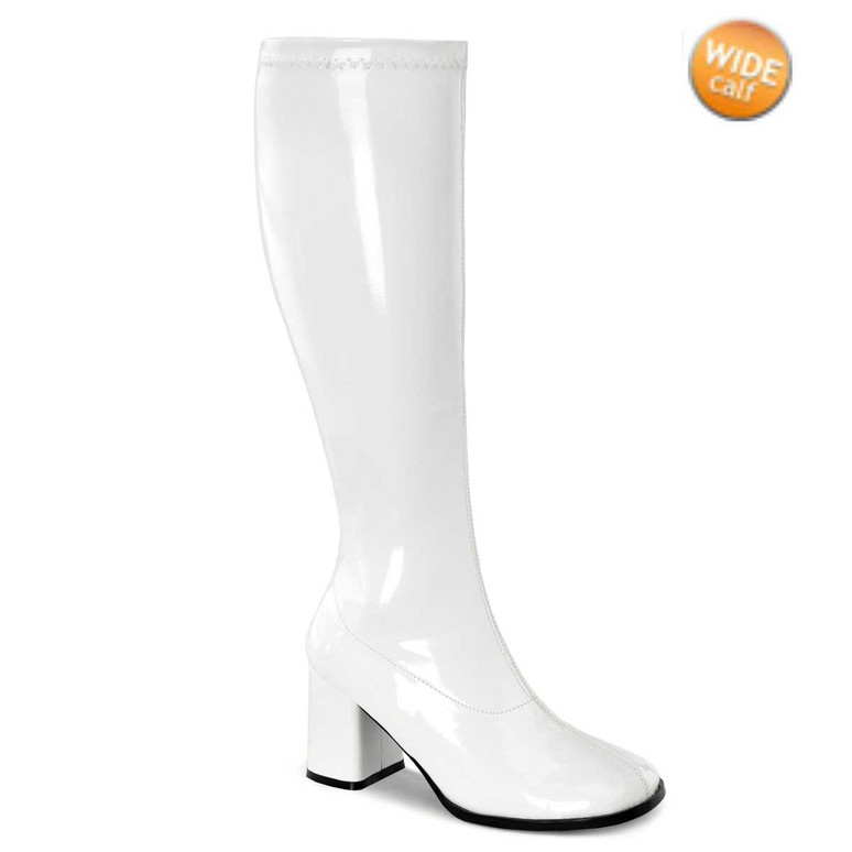 White GOGO-300WC, Wide Calf Go Go Boots | Pleaser