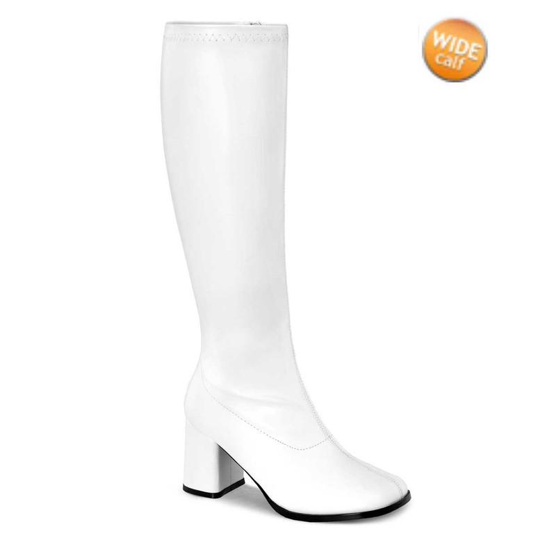 Funtasma | GOGO-300WC, White Wide Calf Go Go Boots | Pleaser