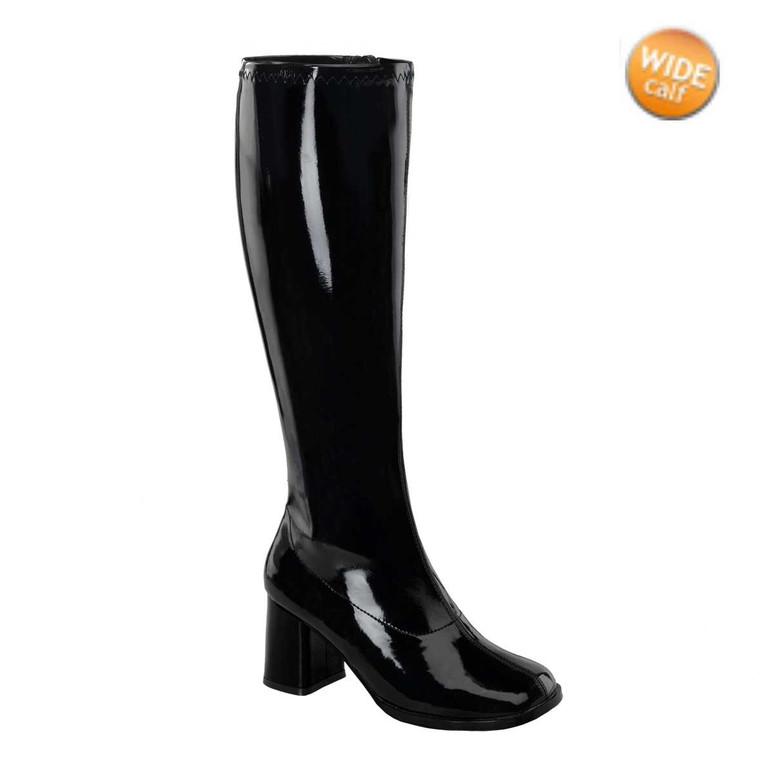 Black GOGO-300WC, Wide Calf Go Go Boots | Funtasma