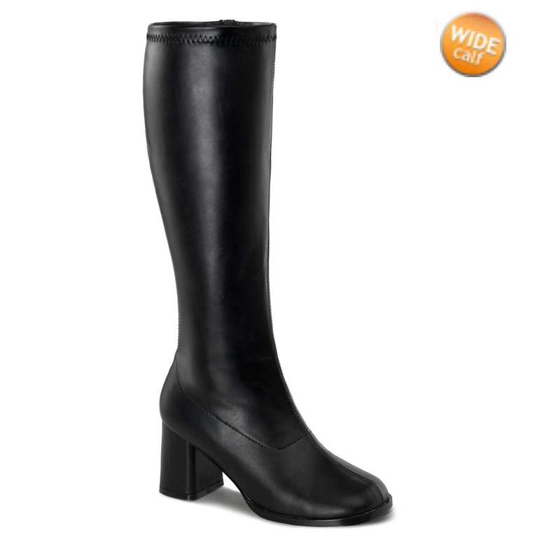 GOGO-300WC, Black Wide Calf Go Go Boots | Pleaser