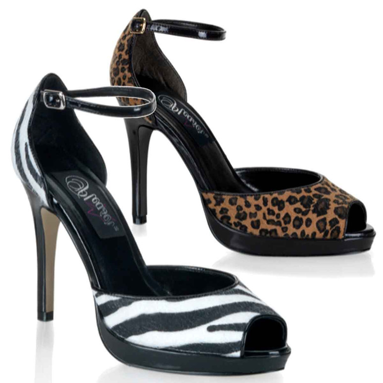 BLISS-33, Animal Print D'Orsay Style Pump Pin Up Shoes