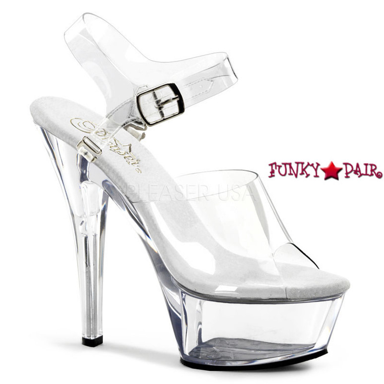 Pleaser Shoes KISS-208DAS, 6 Inch Sexy Sandal with Interchangeable Ankle Strap