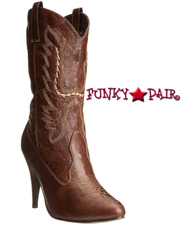 """Brown 418-Cowgirl 4"""" Heel Ankle Costume Boots 