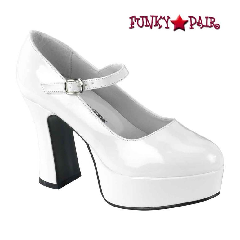 White MARYJANE-50, Chunky Platform Mary Jane Pump Pleaser Shoes