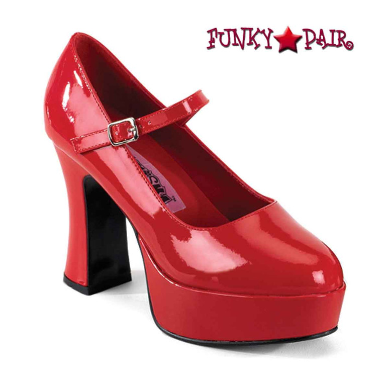 Red MARYJANE-50, Chunky Platform Mary Jane Pump Pleaser
