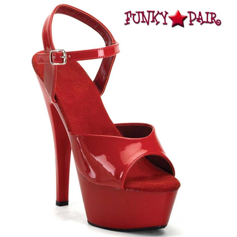 JULIET-209, Red Ankle Strap Platform Sandal | Funtasma