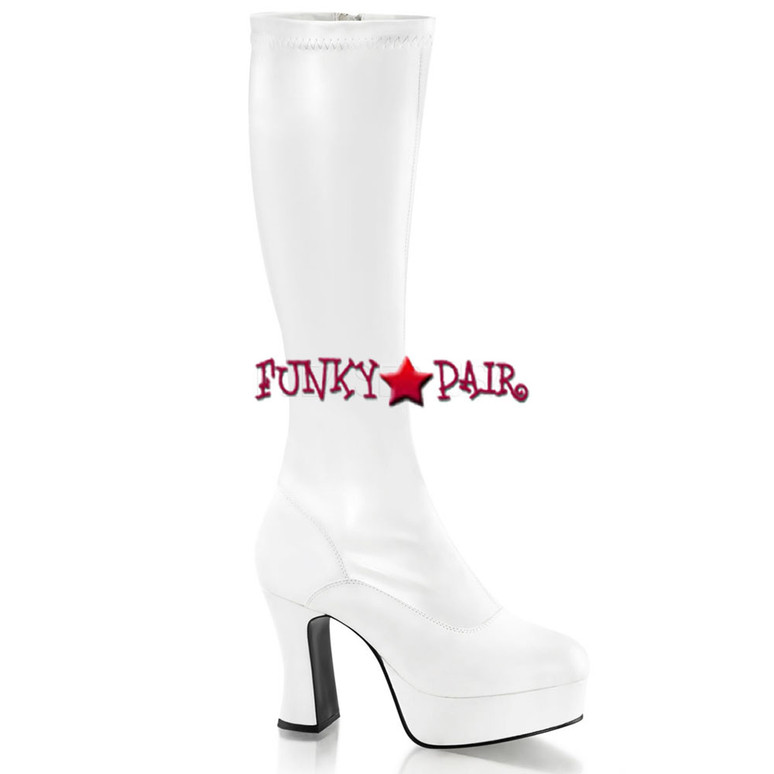 EXOTICA-2000, White Platform Gogo Boot | Pleaser