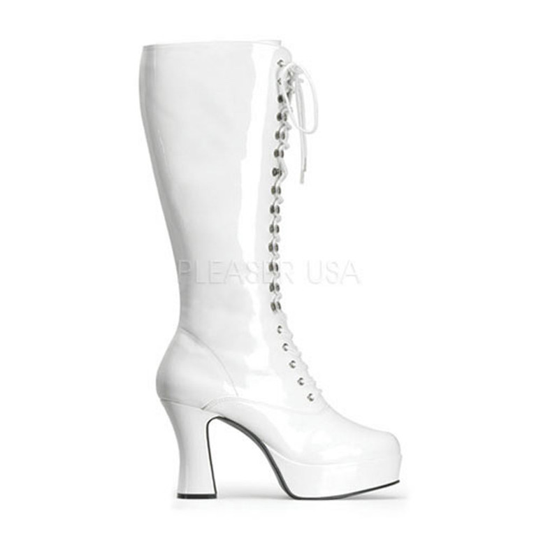 EXOTICA-2020, 4 Inch High Heel Platform Knee High Boot * Made by FUNTASMA color white patent