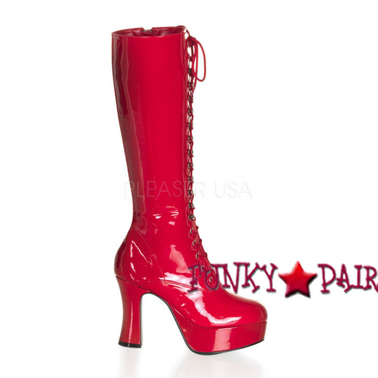 EXOTICA-2020, 4 Inch High Heel Platform Knee High Boot * Made by FUNTASMA color red patent