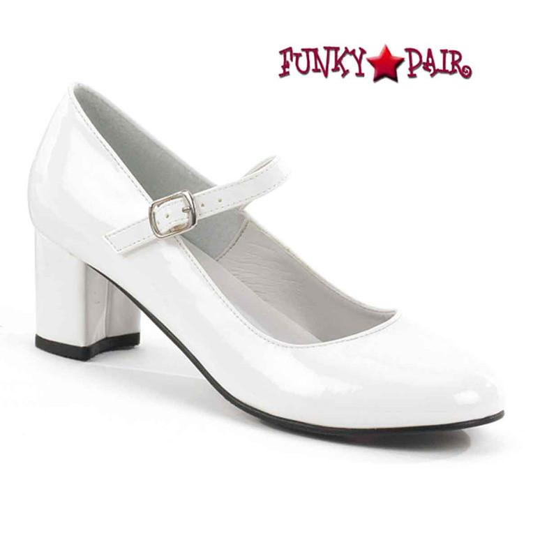 SCHOOLGIRL-50, White Mary Jane Shoes