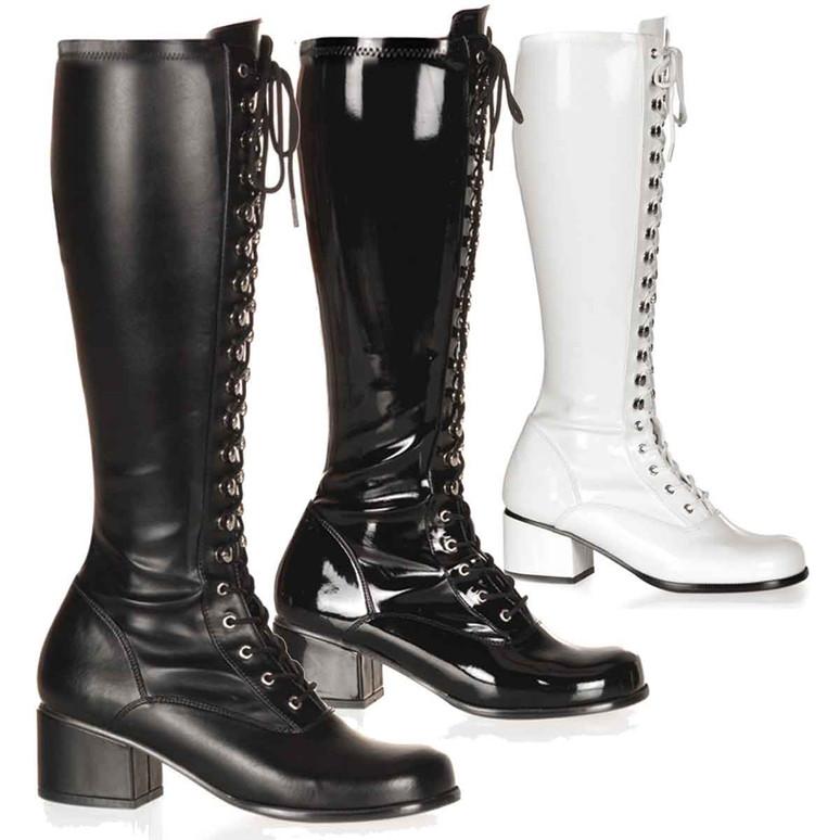 Block Heel Lace Knee High Boot | Pleaser Retro-302