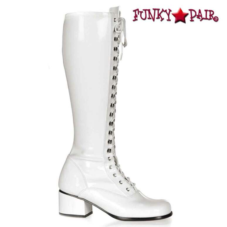 White Retro-302, Block Heel Knee High Boot | Funtasma