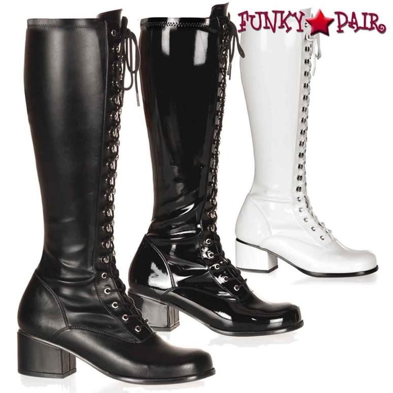 Pleaser | Retro-302 Block Heel Lace Knee High Boot