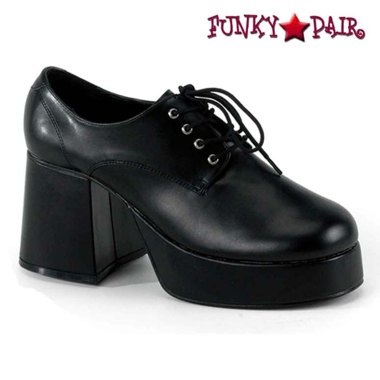 Black Faux Leather Men Disco Platform Shoes  | Funtasma JAZZ-02