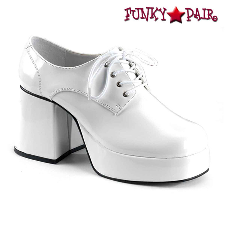 White Men Disco Platform Shoes  | Funtasma JAZZ-02