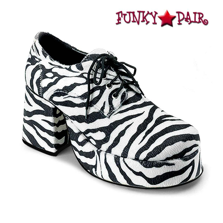 Zebra Men Disco Platform Shoes  | Funtasma JAZZ-02