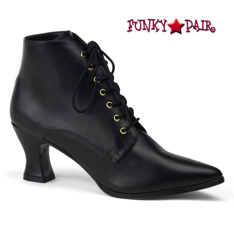 Victorian-35, Women Victorian Boot Black Faux Leather