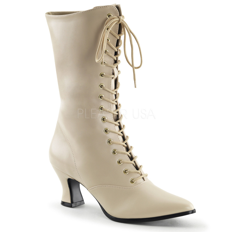 Victorian-120, Women Victorian Boot Cream Faux Leather