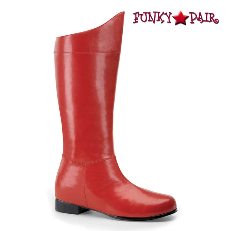 Men's Super Hero Cosplay Boot Hero-100 by Funtasma Color Red Faux Leather