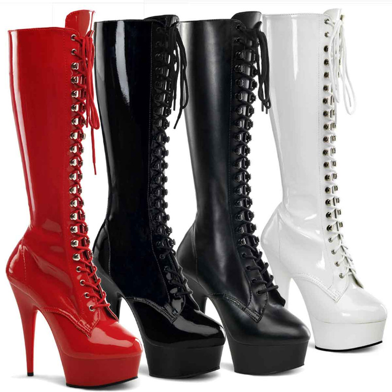 DELIGHT-2023, 6 Inch Stretch Knee High Boot by Pleaser