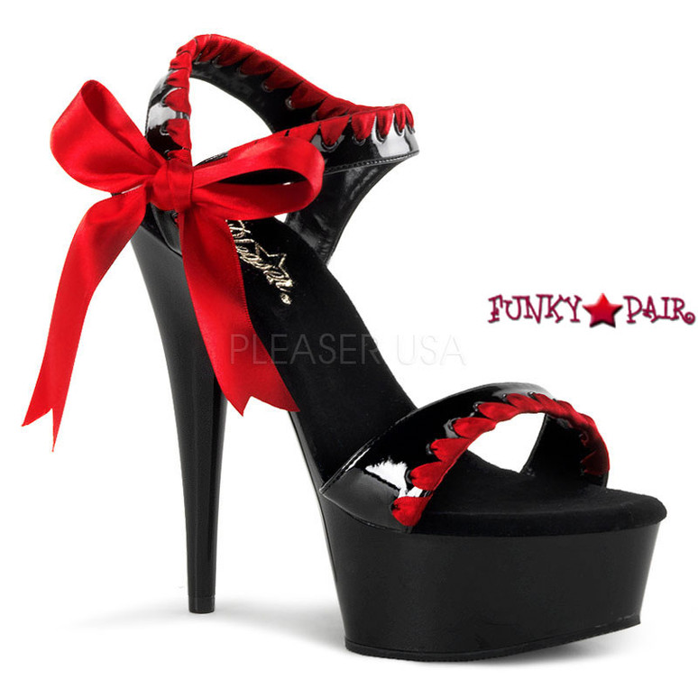 black with red lace DELIGHT-615, Two Tone Ankle Strap Sandal