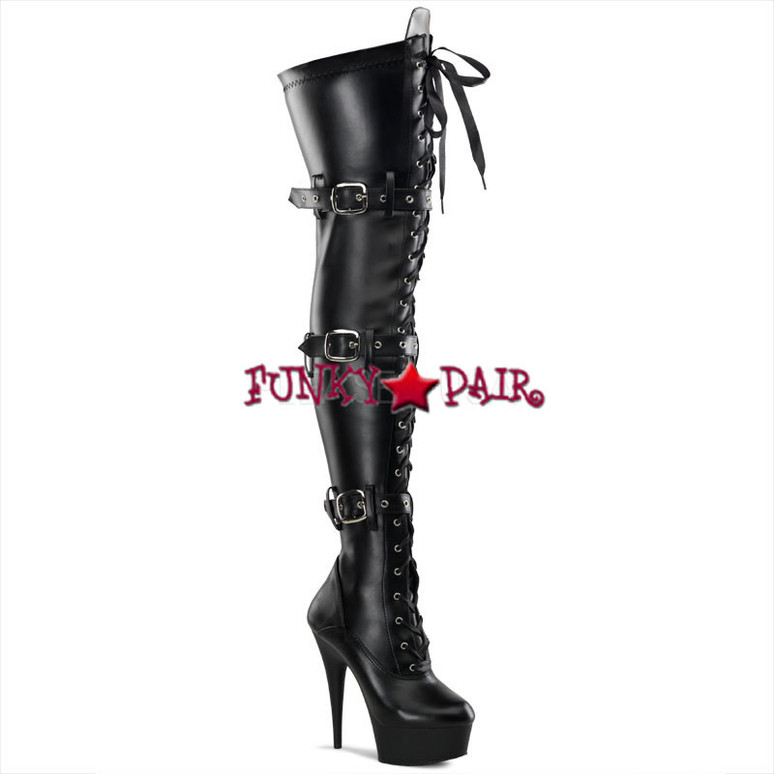 Pleaser Boots | DELIGHT-3028, Platform Buckle Platform Thigh High Boots color black faux leather
