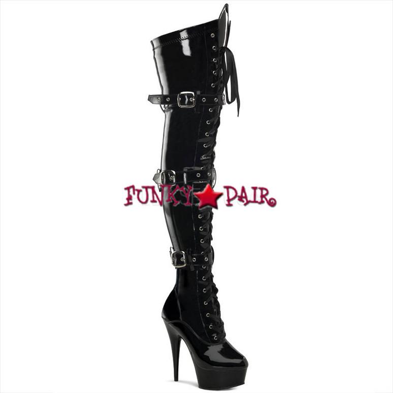 Stripper Boots   DELIGHT-3028, Platform Buckle Platform Thigh High Boots color black patent