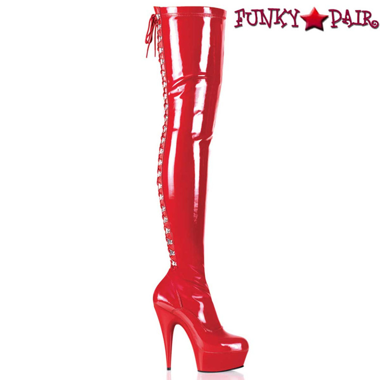 DELIGHT-3063, Red 6 Inch Rear Lace-Up Thigh High Boots by Pleaser
