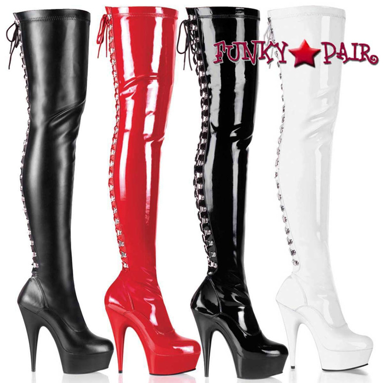 DELIGHT-3063, 6 Inch Rear Lace-Up Thigh High Boots by Pleaser