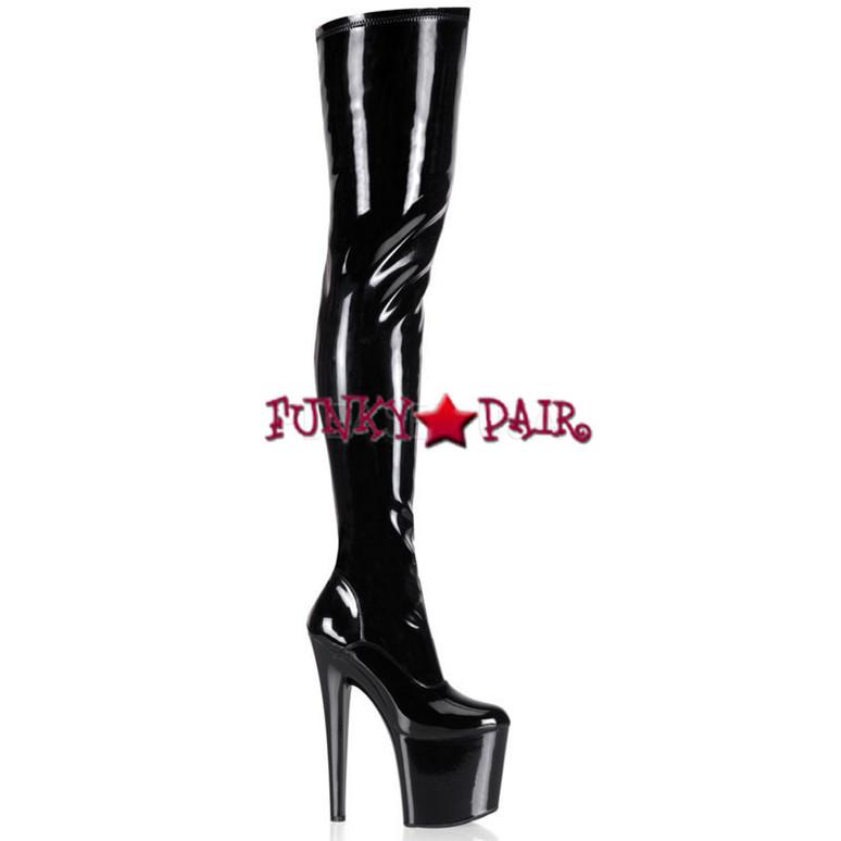 Pleaser TABOO-3000, 7.5 Inch Heel Thigh High Boots