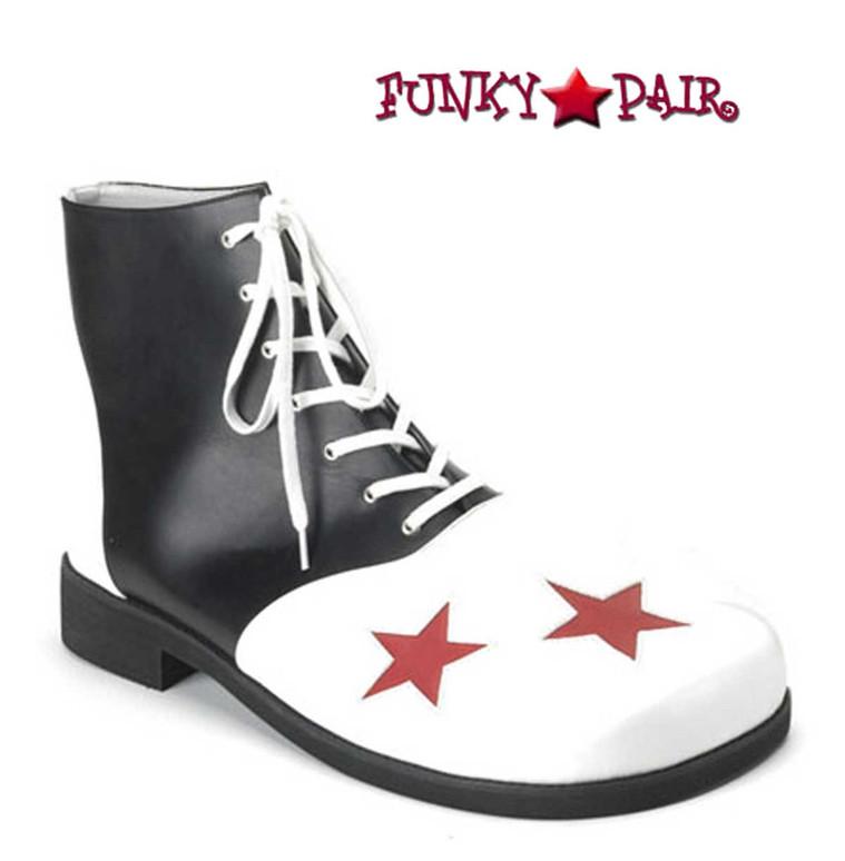 CLOWN-02, Clown Shoe with Stars Black/White/Red Stars
