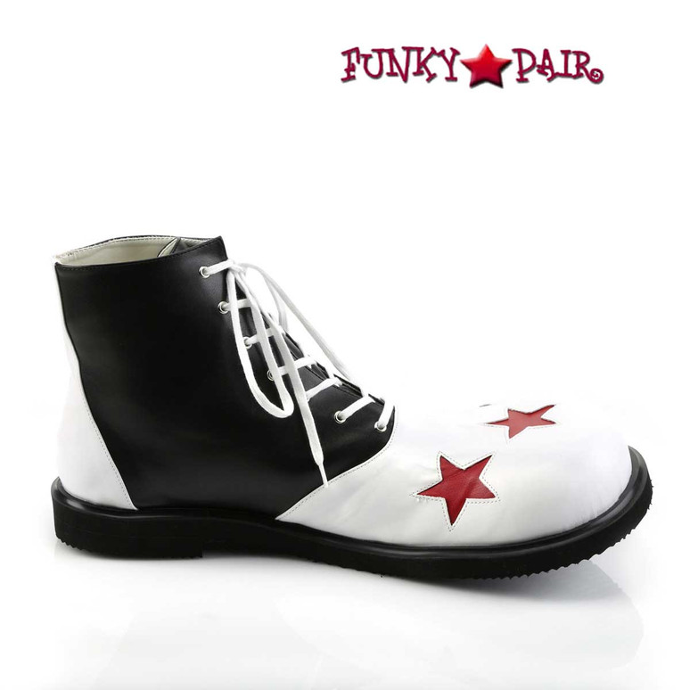 CLOWN-02, Clown Shoe with Stars Black/White/Red Stars Side View