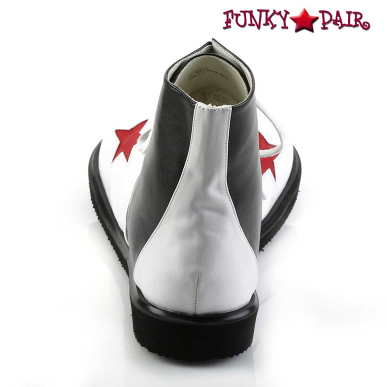CLOWN-02, Clown Shoe with Stars Black/White/Red Stars Back View