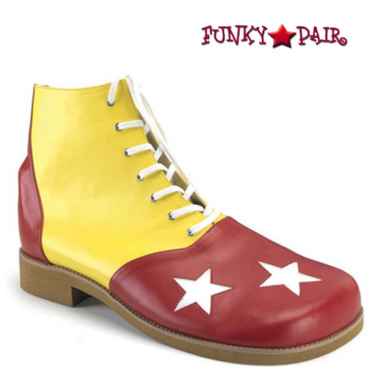 CLOWN-02, Clown Shoe with Stars Yellow/Red/White Stars