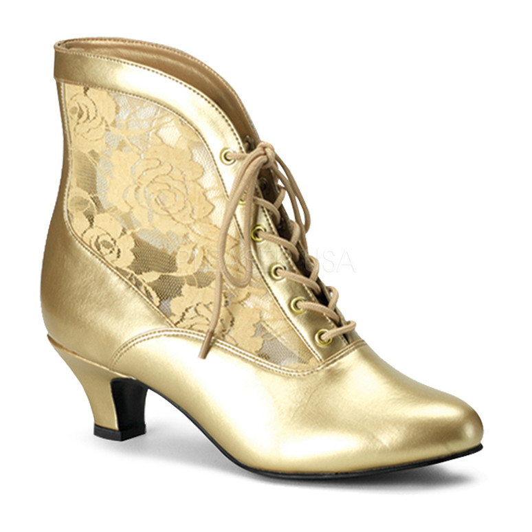 DAME-05, Victorian Ankle Boots Gold Faux Leather