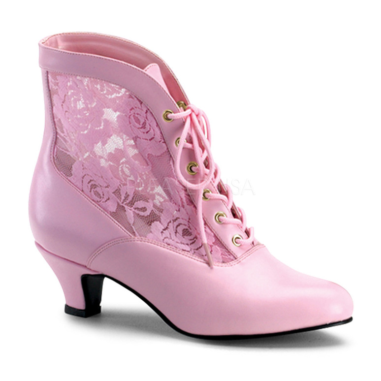 DAME-05, Victorian Ankle Boots Pink Faux Leather