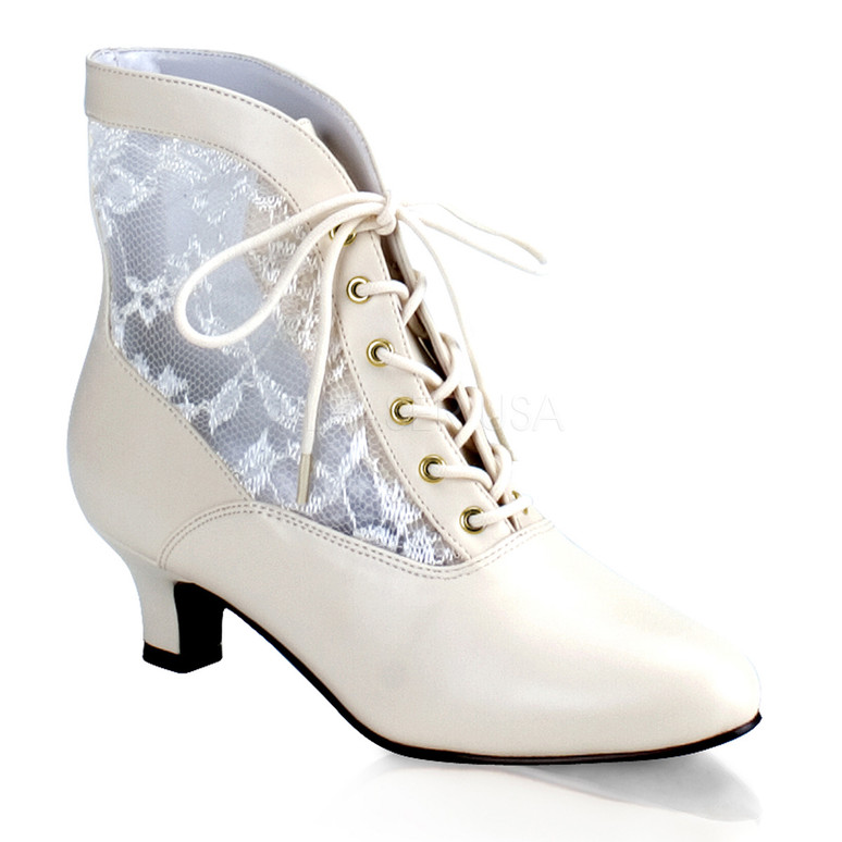 DAME-05, Victorian Ankle Boots White Faux Leather