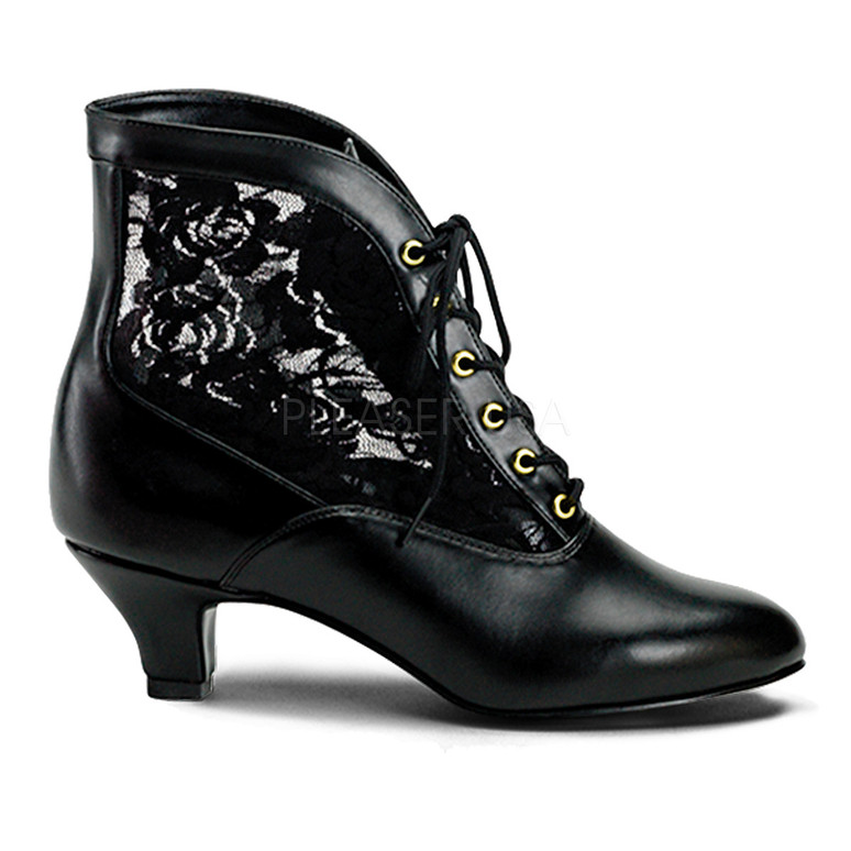 DAME-05, Victorian Ankle Boots Black Faux Leather