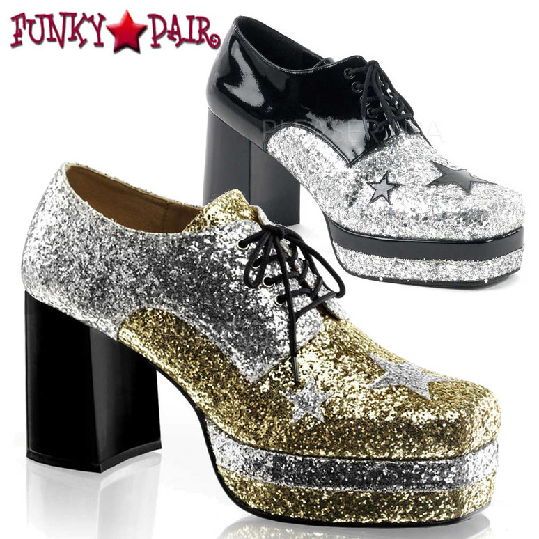 GLAMROCK-02, Men Costume Shoes Glitter with Stars Disco Platform Shoe