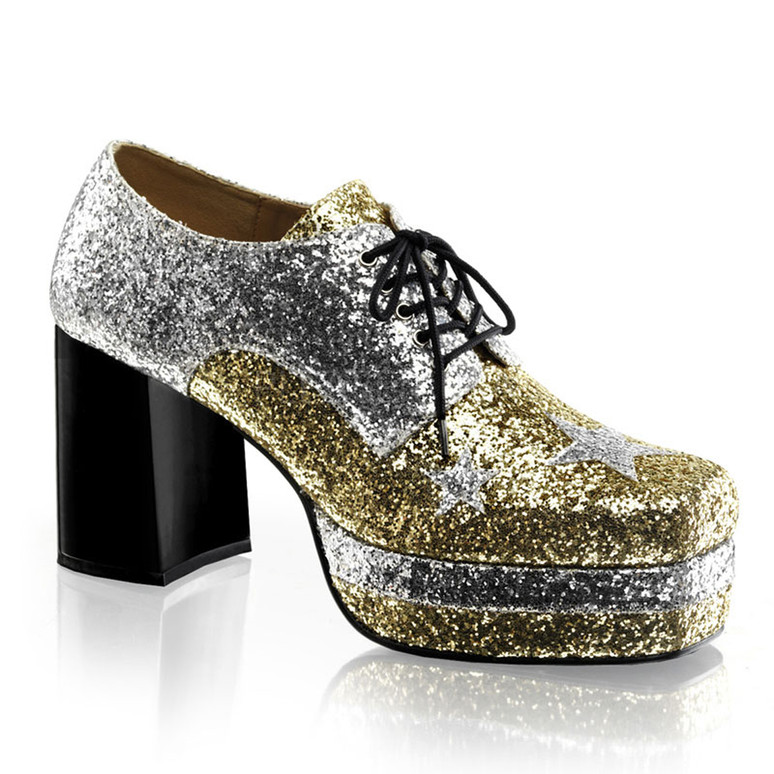 GLAMROCK-02, Men Glitter with Stars Disco Platform Shoe color silver/gold