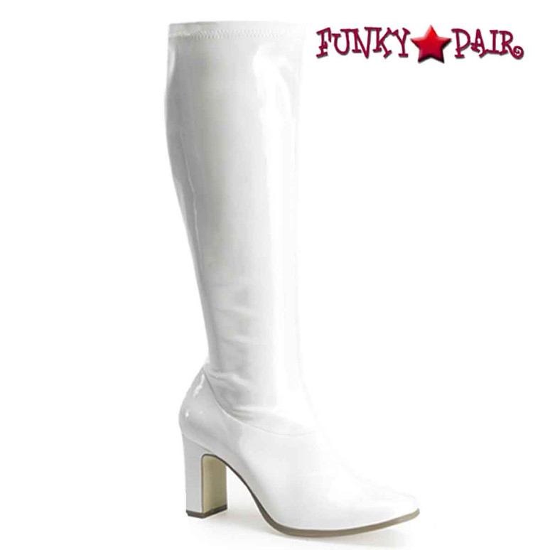 Kiki-350 Gogo Knee High Boot Color White Patent
